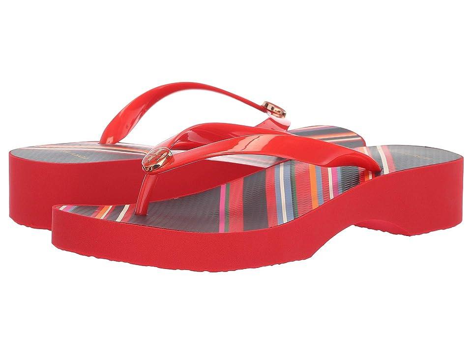 Tory Burch Wedge Flip-Flop (Brilliant Red) Women