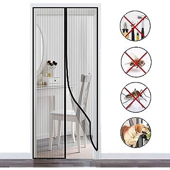 Mosquitera Puertas Negro Velcro Adhesiva Bueno para Ni/ños y Perros Mosquitera Magn/ética para Puertas 80x215cm Protecci/ón contra Insectos
