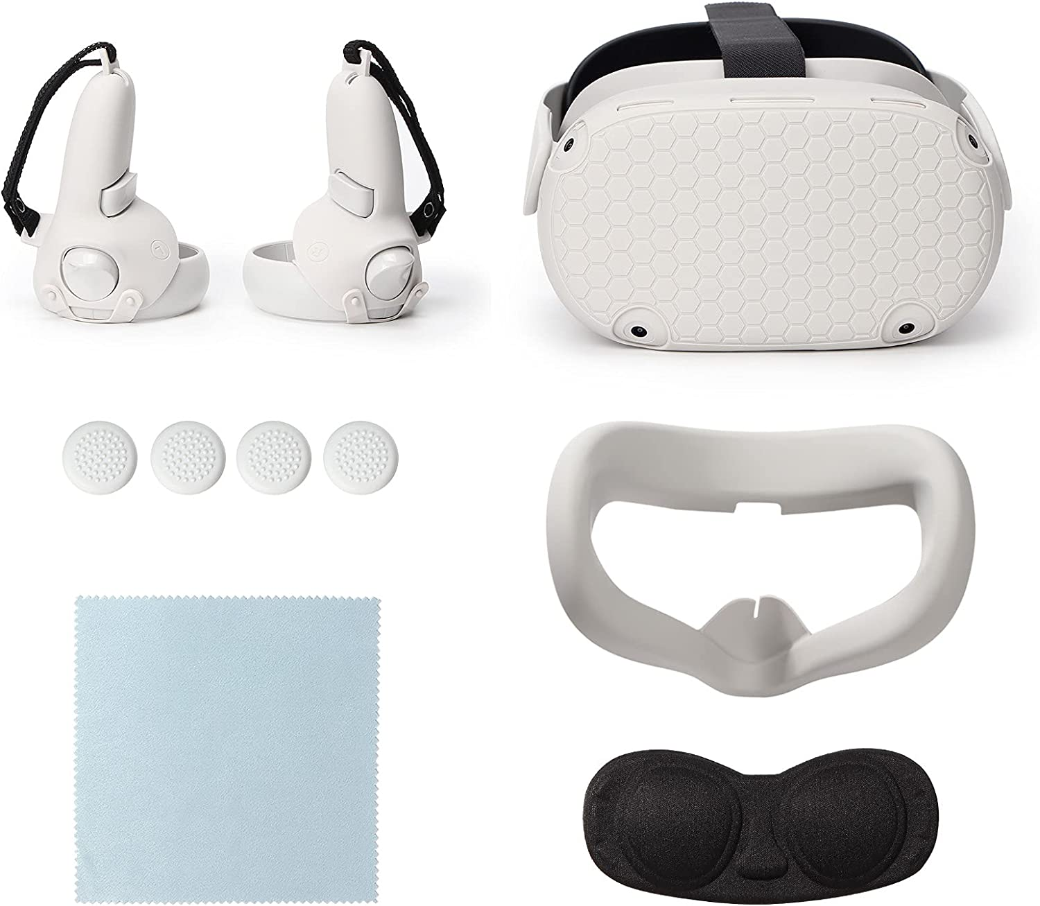 6 in 1 VR Headset and Controller Accessories Combo Set for Oculus Quest 2, VR Shell Protector Cover+Silicone Face Cover+Lens Protector Cover+Controller Protector Cover+Thumb Button Cap+Cleaning Cloth