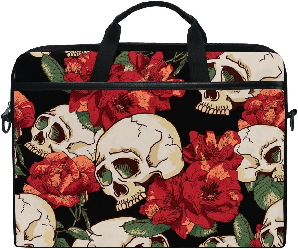 JSTEL Choice Vintage Skull Rose Laptop Shoulder Slee Case Max 57% OFF Messenger Bag