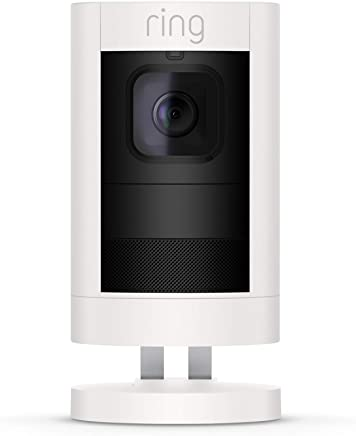 Ring Stick Up Cam Battery HD Security Camera with Two- Way Talk, Night Vision, White Works with Alexa