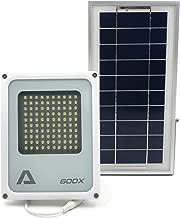 ALPHA 600X Flood Light ソーラーフラッドライト、3レベル電源と明度コントロール、リチウムバッテリー、農場、芝地、家庭の庭、遠隔地の山小屋、裏通り、公共エリア用のセキュリティフラッドライト及びエリア照明用