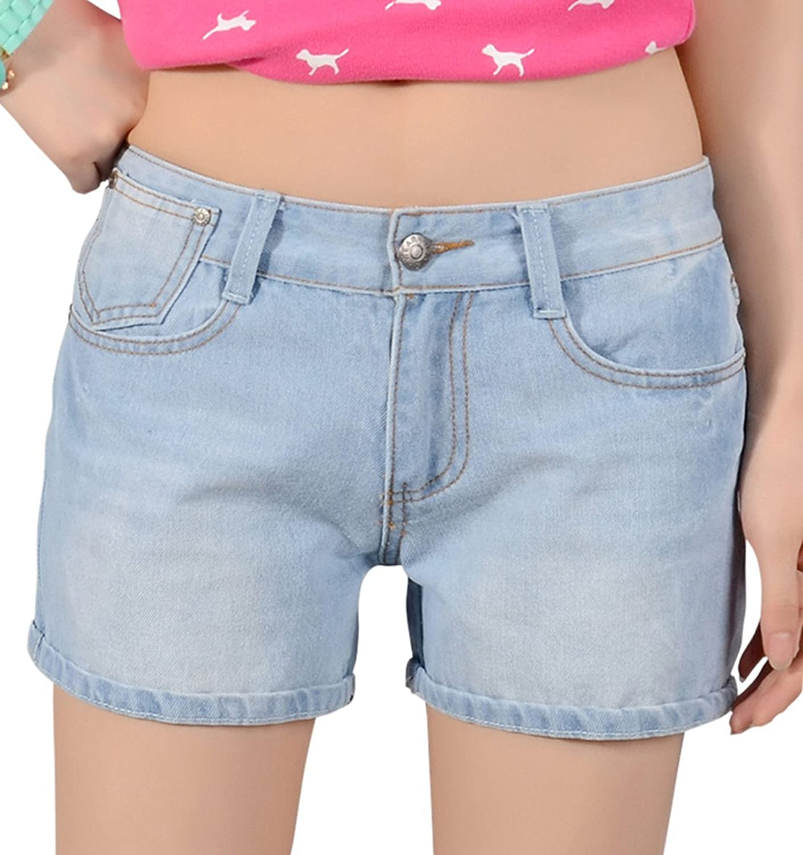 Chouyatou Women's Classic FivePocket Oversized Denim Shorts