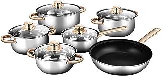 Costway Batterie de Cuisine 11 Pièces en Acier INOX. 304 Tous Feux Dont Induction avec 4 Marmites (1,4L /2,2L /3L /5L), 1 ...