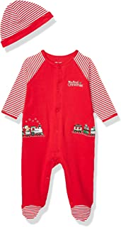 Little Me Baby-Boys LCQ08872N Holiday Cotton Footie - red