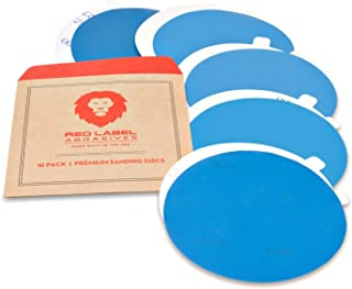 6 Inch Adhesive Back (PSA) Auto Body Film Sanding Discs, P800, P1000, P1200, P1500, and P2000 Grits, 10-Pack Assortment