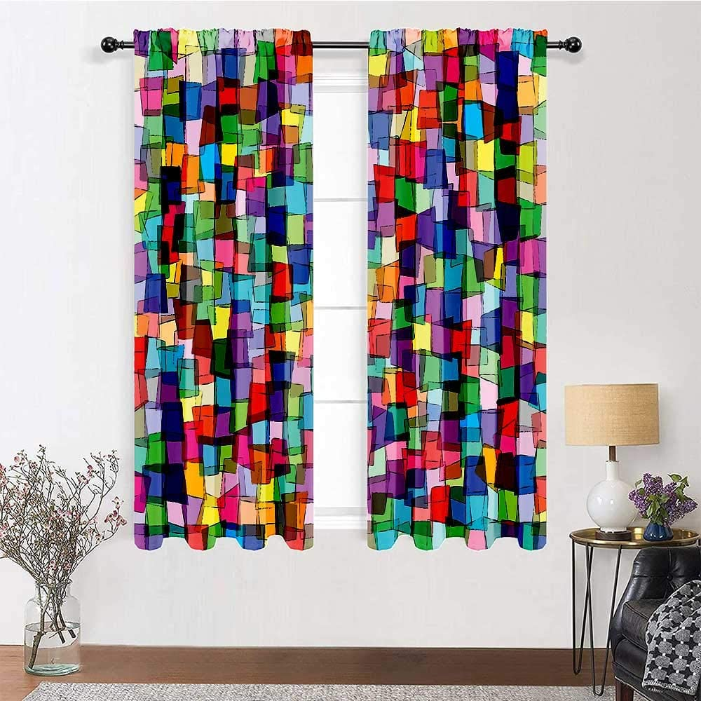 Living Room Curtains Max 76% OFF 96 inch Safety and trust Length Pocket Rod Curtain Abstract