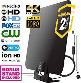 (Updated 2019) Digital HDTV Antenna, Amplified High Definition TV Antenna, 50 to 80 Mile Range Signal Amplifier for Best Reception, 11ft Coax Cable, Wall Mountable with Optional Table Stand