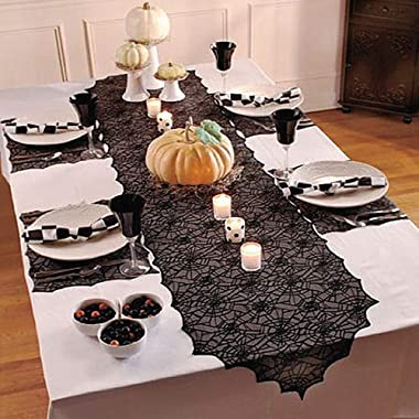 ibohr Halloween Table Runner with Spider Web Lace Festival Table Runner Halloween Table Decoration for Parties & Gatherin