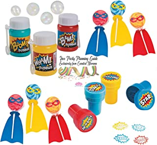Curated Nirvana Superhero Party Favor Bundle | 24 Hero Suckers with Cape, 24 Mini Bubble Bottles with Comic Book Phrases & 24 Hero Phrase Ink Stamps