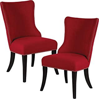 Homelegance Two-Piece Pack Fabric Parson Chair, Red