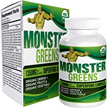 Monster-Greens: Organic Superfood/Greens Supplement Pills - Healthy Greens - 60 Tablets