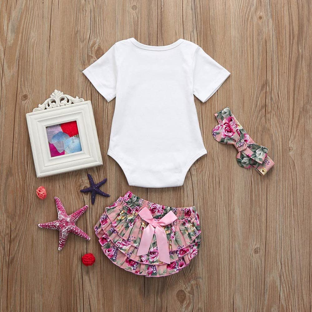 Reasoncool Infant Baby Girl Outfit Sets Newborn Letter Printed Short Sleeve Romper Flower Shorts Pant Headband Clothes