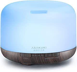 ASAKUKI 500ml Premium, Essential Oil Diffuser, 5 in 1 Ultrasonic Aromatherapy Fragrant Oil Humidifier Vaporizer, Timer and...