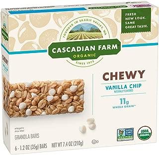 CASCADIAN FARM ORGANIC CHEWY GRANOLA BARS VANILLA CHIP, 44.4 oz (Pack of 6)