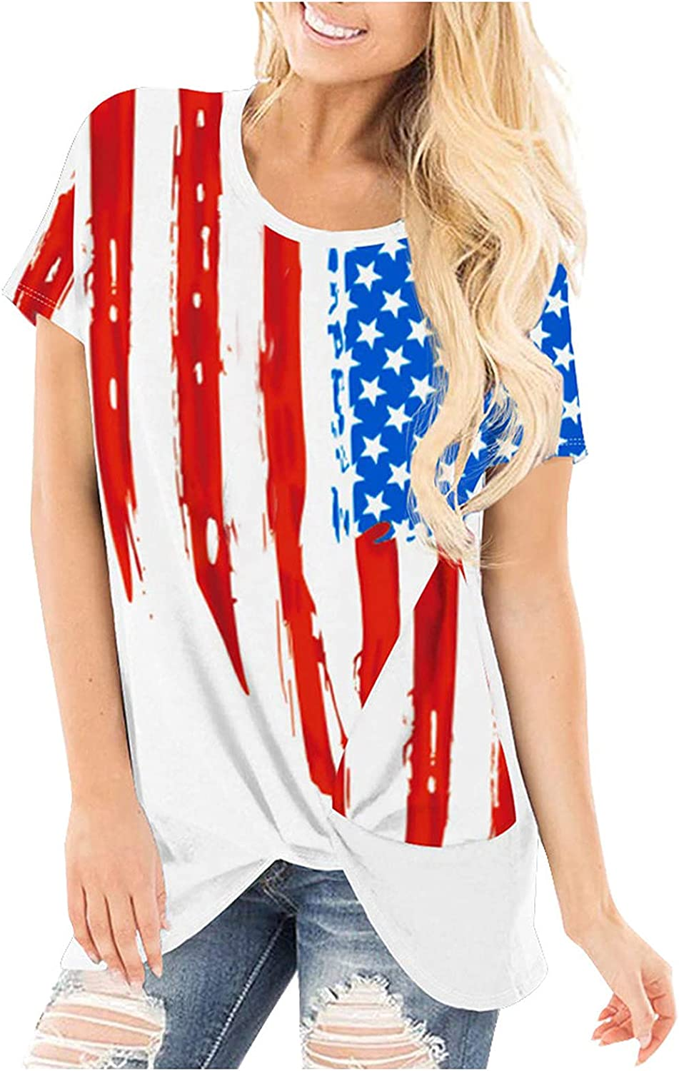 Sayhi Fashion Women Basic Tee Casual Shirts O-Neck Independence Day Printed Short Sleeve Tops Casual Pullover