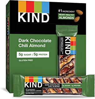 KIND Bars, Chocolate Chili Almond, Gluten Free, Low Sugar, 1.4oz, 4 Count (Pack of 12)