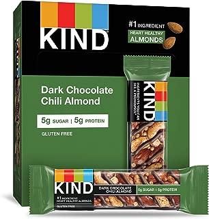 KIND Bars, Dark Chocolate Chili Almond, Gluten Free, Low Sugar, 1.4oz, 12 Count