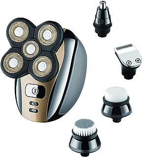 Maquinilla de afeitar eléctrica para hombres calvos Gold Grooming Kit 5 en 1 Wet Dry Rotary Afeitadoras Nariz Pelo Barba Clippers Limpieza Facial Cepillo Inalámbrico Impermeable Carga USB Recargable