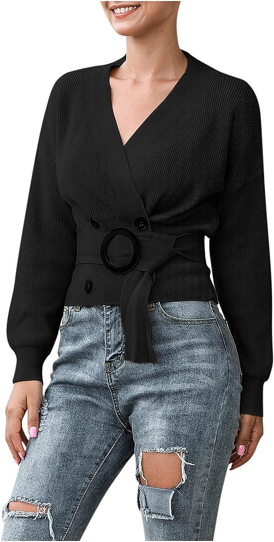RiamxwR Women's Crop Sweater Solid Color O Neck Wrap Knitwear Loose Long Sleeve Knitwear with Belt by Pocciol