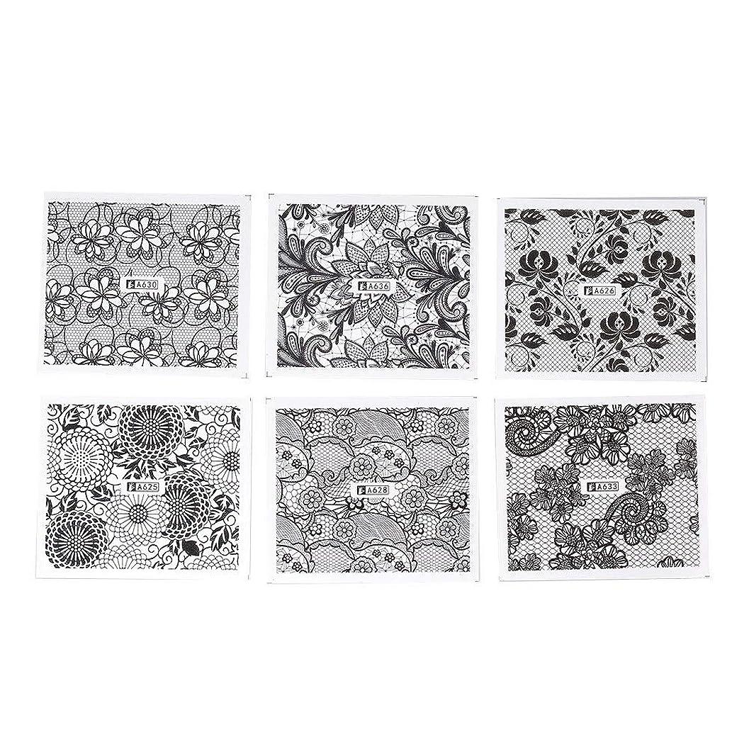 つかまえる突き刺す名前ホワイト レース ブラック ネイルホイル ネイル転印シール 混合 花柄 ネイルシール ネイルステッカー ネイルデコ ネイルアート DIY 装飾ツール 24枚セット