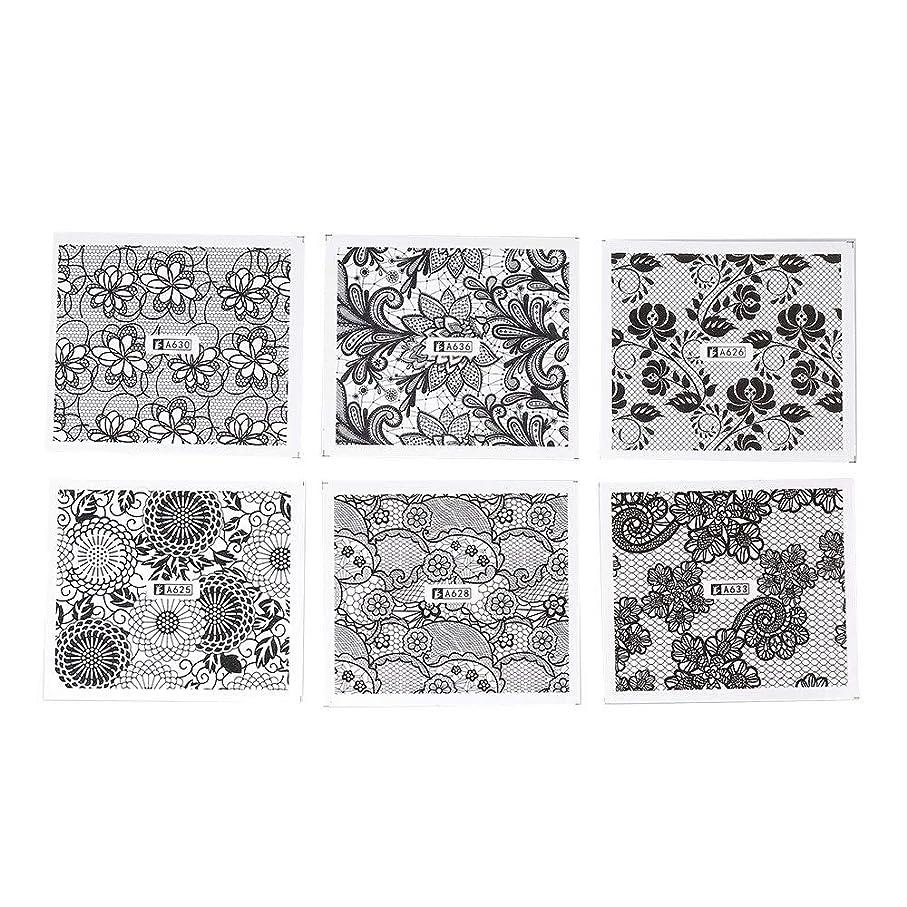 軍隊パーティションうがい薬ホワイト レース ブラック ネイルホイル ネイル転印シール 混合 花柄 ネイルシール ネイルステッカー ネイルデコ ネイルアート DIY 装飾ツール 24枚セット
