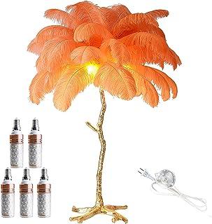 Lampadaire Nordic Feather, 67 Pouces Soft Lighting Design Vintage Art Lampadaire avec 5 Ampoules E14 et Interrupteur à Pie...