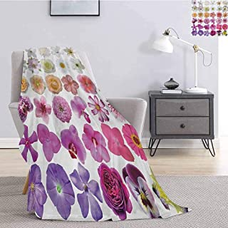 Luoiaax Flower Fuzzy Blankets King Size Pattern of Various Vase Flowers Petunia Botanic Wild Orchid Floral Nature Art Queen Size Blanket Soft Warm W57 x L74 Inch White Lilac Pink