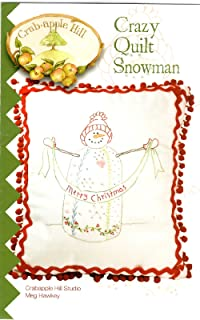 Crazy Quilt Snowman Christmans Embroidery Pattern by Meg Hawkey From Crabapple Hill Studio #410