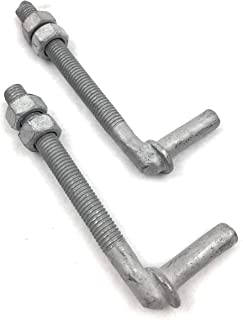 "J-Bolt Galvanized with 2 Nuts Attached 2 Pc Pack 1/2"" x 4-1/2"""