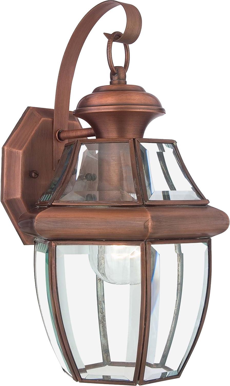 Quoizel Ny8316ac Newbury Outdoor Wall Lantern Wall Mount Lighting 1 Light 150 Watt Aged Copper 14 H X 8 W Wall Porch Lights
