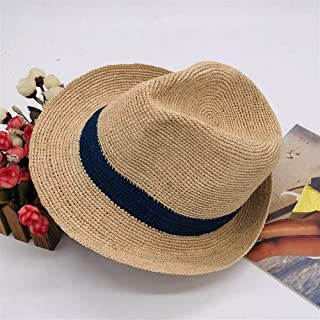 ZWHMZ Short Hand Hook conical Curling Autumn hat Summer Spring spot Coffee Color car Horse Straw hat (Color : Blue)