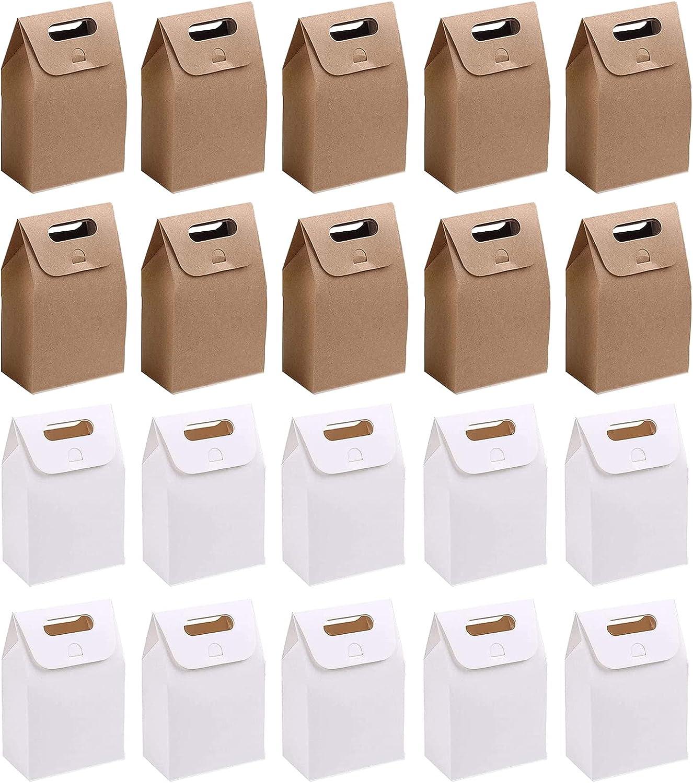 20 Piezas Bolsas de Regalo de Papel Kraft, Bolsas de Regalo de Papel, Bolsas de Papel Kraft, Pequeñas Bolsas de Papel Kraft, Caja de Regalo para Banquetes y Bodas (Color Blanco/Piel de Vaca)