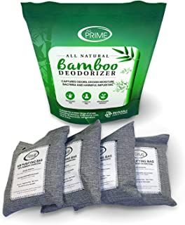 All Prime - 4 Pack 500g Bags – Bamboo Charcoal Air Purifying Bags – Charcoal Air Purifying Bags – All-Natural Odor Eliminator – Charcoal Deodorizer – Activated Charcoal Odor Absorber – Eco-Friendly