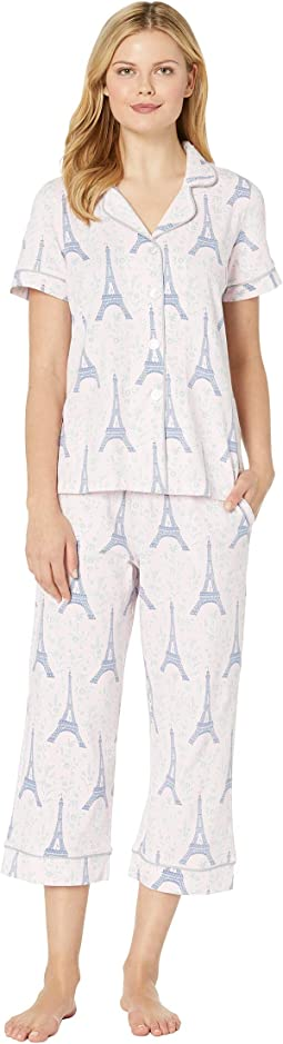Short Sleeve Cropped Pajama Set