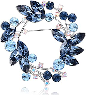Sxmy Koreansk högklassig brosch, österrikiska kristallsmycken, blombrosch, blazer, dam, jacka, kragstift, pin tillbehör, blå