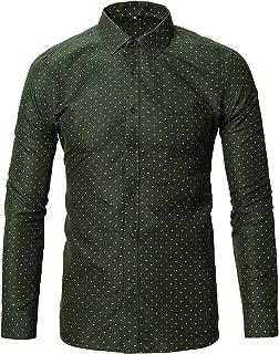 Mens Dress Shirts, Printed Slim Fit Long Sleeve Cotton Casual Button Down Shirts