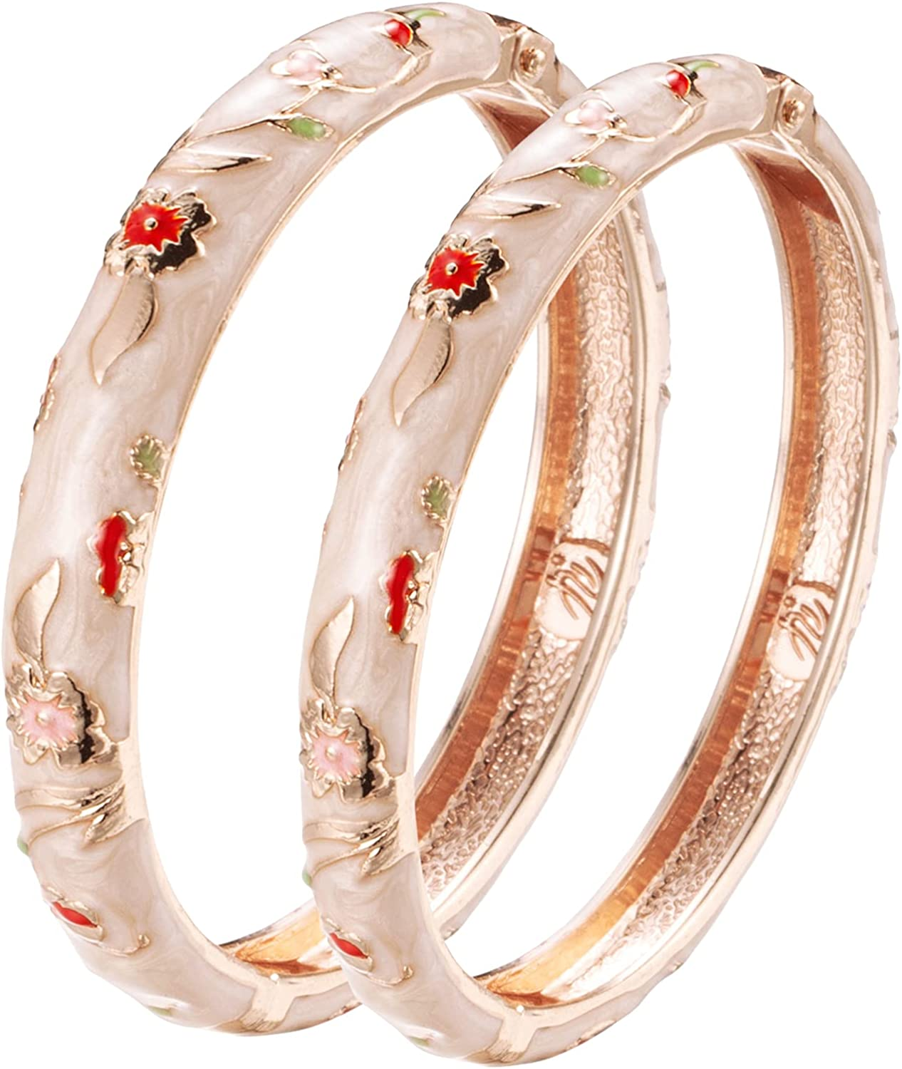 UJOY Designer Indian Style Cloisonne Bracelets, 2.4'' Openable Cuff Enameled Bangles Set Jewelry Gift for Women Packed in Box 55A111-55B31