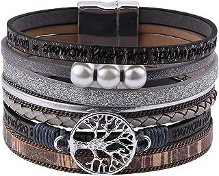 Leather Wrap Boho Bracelets for Women - Multi Layered Genuine Leather Pearl Wrap Bohemian Bracelets Handmade Magnetic Clasp Tree of Life Leather Cuff Bracelet Boho Jewelry for Women Girls Teens