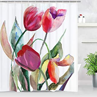 BLEUM CADE Tulip Flowers Shower Curtain, Red Flower Shower Curtain Watercolor Floral Shower Curtain Bathroom Accessory with Hooks