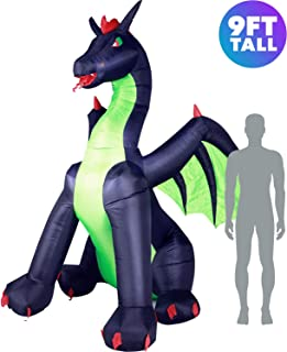 Holidayana Giant 9ft Airblown Inflatable Halloween Dragon - Inflatable Halloween Decoration Super Bright Internal Lights, Built-in Fan and Anchor Ropes