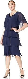 Women's Plus-Size Rhinestone-Trimmed Cape Two-Piece Dress