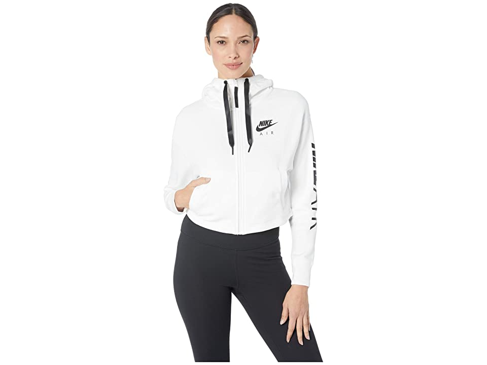 Nike Sportswear Air Hoodie Full Zip Fleece (White/Black) Women