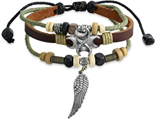 Bling Jewelry Angel Wing Feather Charm Brown Genuine Leather Rope Multi Strand Wristband Surf Zen Bracelet for Women Men Adjustable