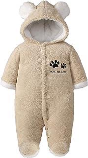 Minizone Baby Strampler Winter Outfits Mit Kapuze Schneeanzug Jungen Mädchen Overall Lange Ärmel Babykleidung Pyjama Spielanzug Geschenk 0-12 Monate