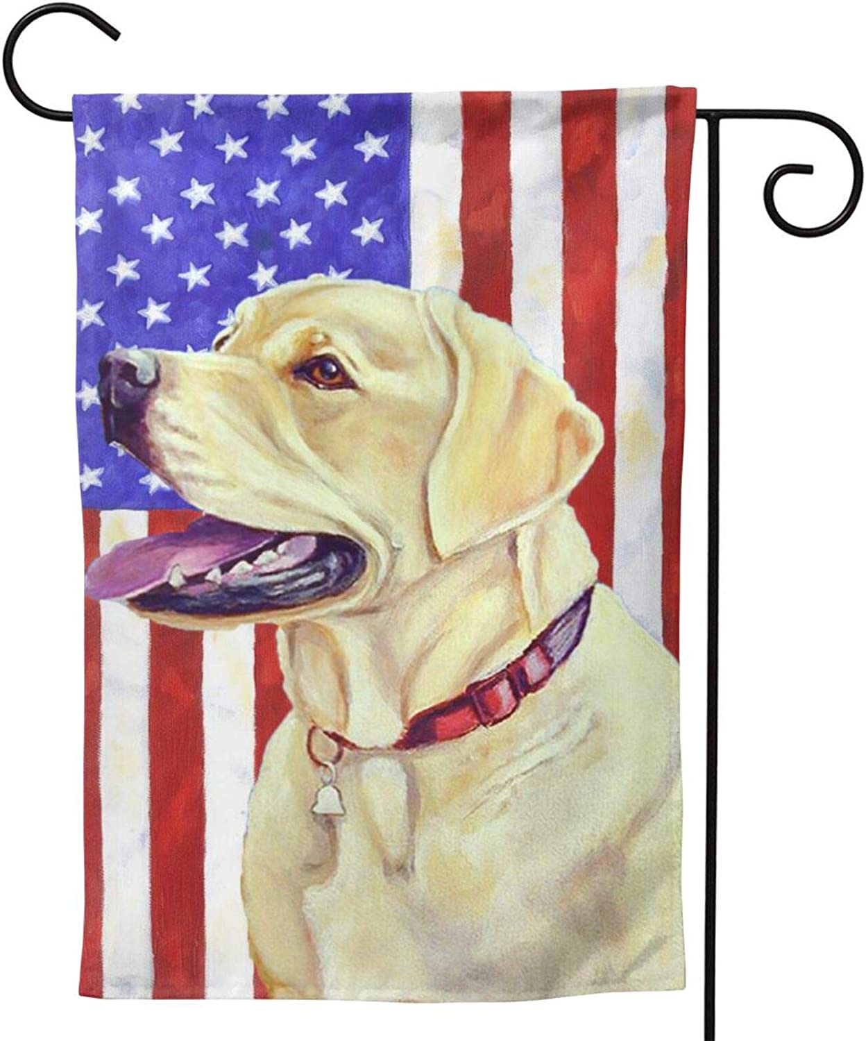 MINIOZE American Flag Labrador Yellow Cute FUUNY Dog Party Themed Flag Welcome Outdoor Outside Decorations Ornament Picks Garden Yard Decor Double Sided 12.5X 18 Flag