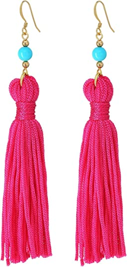 Kenneth Jay Lane - Polished Gold/Turquoise Bead with Pink Tassel Fish Hook Ear Earrings