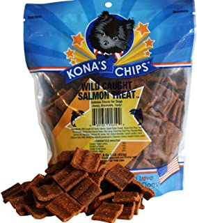 KONA'S CHIPS Wild Caught Salmon Dog Treats; Healthy Treats for Dog, Made in The USA only 16oz Bag.