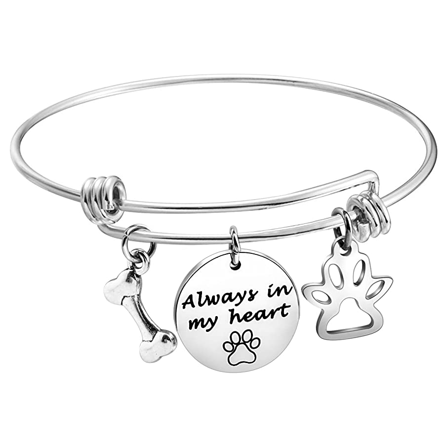 MAOFAED Pet Memorial Bracelet for Dog Lovers Expandable Bangle Paw Print Always in My Heart