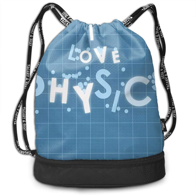 109678ec2eaf Physics Lettering Print Drawstring Bags Gym Shoulder Bags Simple ...